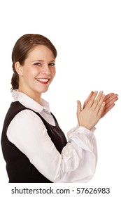 Attractive laughing businesswoman claps with hands. Isolated on white background.