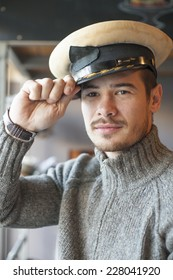 Attractive Man With Army Captain Hat Inside