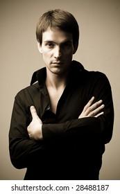 Attractive man in black shirt