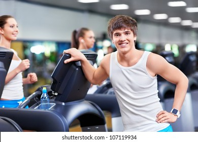 Attractive man in a fitness club