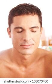 Attractive man getting treatment with syringe in beauty clinic