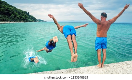 Attractive man jumping into water, image sequence