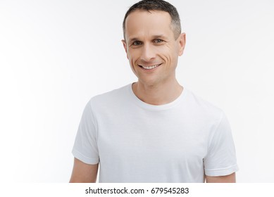 Attractive man looking straight at camera