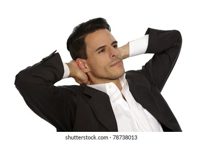 Attractive man in suit is relaxing