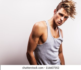 Attractive man wearing T-shirt.