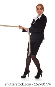 Attractive mature businesswoman pulling rope. All on white background.