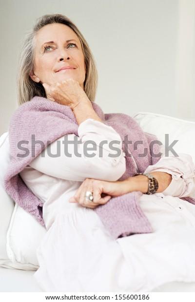 Attractive Mature Woman Gray Hair Laying Stock Photo (Edit