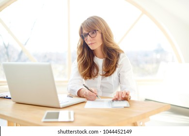 An attractive middle aged businesswoman sitting in front of laptop and and doing some paperwork while managing her small business from home.