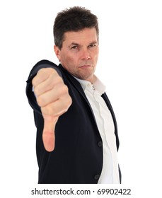 Attractive middle-aged man making negative gesture. All on white background.