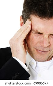 Attractive middle-aged man suffering from headache. All on white background.