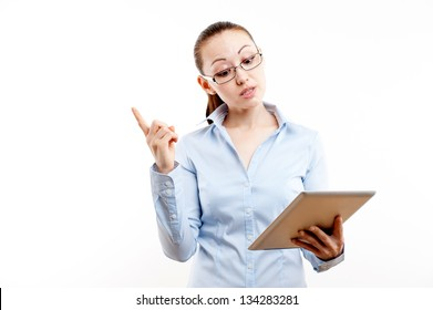 Attractive Mixed Asian Business Woman making a speech on a tablet