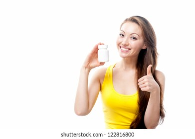 Attractive Mixed Asian female smiling with supplement bottle