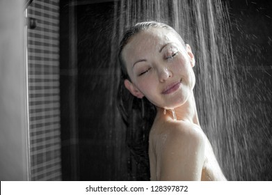 Attractive mixed asian woman in shower