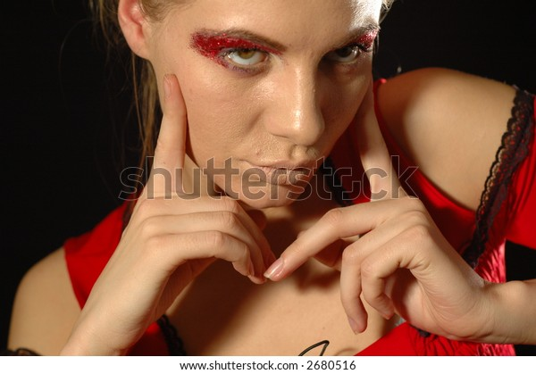 Attractive model with bright make-up