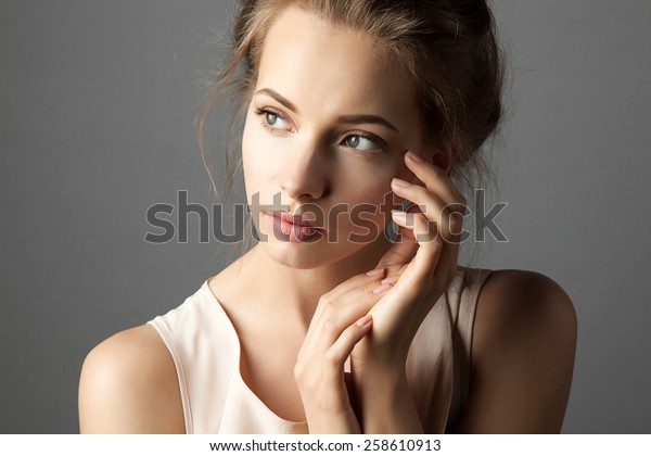 Attractive model  with nude make up