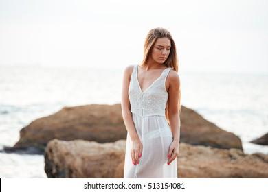 Attractive model on the beach. good portrait of pretty girl
