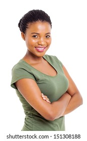 attractive modern african american woman over white background