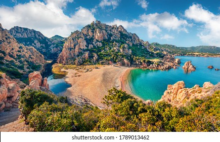 Attractive morning view of Li Cossi beach. Fantastic summer scene of Costa Paradiso, Sardinia island, Italy, Europe. Wonderful Mediterranean seascape. Beauty of nature concept background. - Shutterstock ID 1789013462