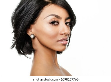 Attractive multi ethnic woman turning head face, beauty studio photo