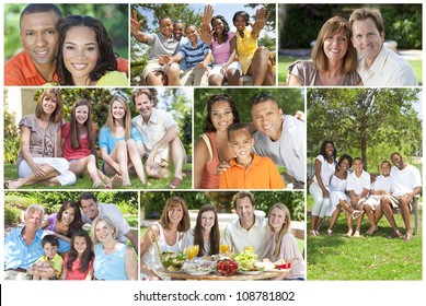 Attractive multicultural families mothers, fathers, sons, daughters, grandparents outside having fun in the summer sunshine, eating, sitting, smiling, waving, laughing, happy