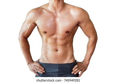 Attractive muscle fitness man in gym, trained male body, lifestyle portrait, Sport Man, Gym and Fitness concept, Asian model, Sport man isolated on white background