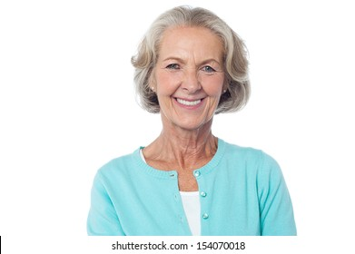 Attractive old woman, pretty smiling face.