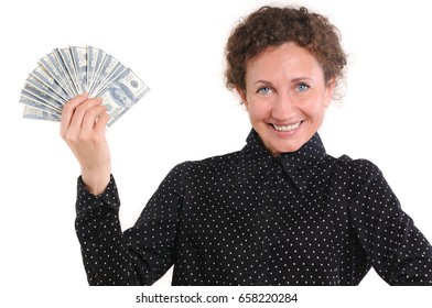 Attractive pensive lady holding cash over white background