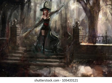attractive red haired witch in the forest