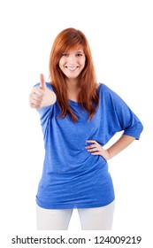 Attractive redhead woman signaling ok -  isolated on a white background