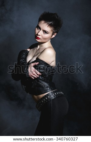 Attractive Sexy Girl Short Hair Black Stock Photo Edit Now