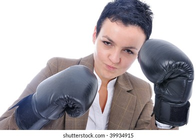 Attractive sexy woman with boxing gloves