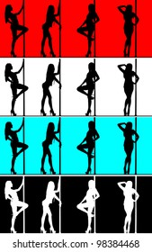 attractive sexy woman pole dancer silhouette posing