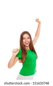 attractive smile teenage girl holding arms and hands fist up, isolated over white background concept of happy student, young pretty success woman surprised excited wear green shirt