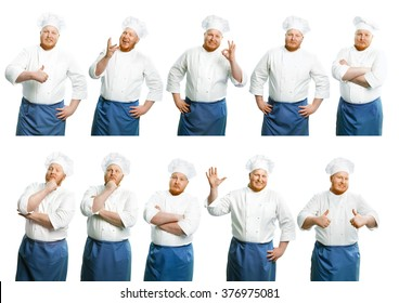Attractive smiling chefs on a white background