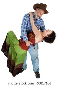 Attractive smiling couple dancing and embracing isolated image