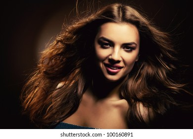 attractive smiling cute woman with long hair