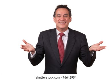 Attractive Smiling Middle Age Business Man in Suit Gesturing with Open Hands