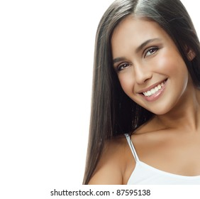 attractive smiling woman portrait on white background brunette looking at camera