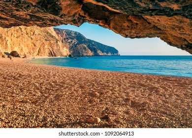 Attractive spring view of Porto Katsiki Beach. Colorful morning seascape of Ionian sea. Picturesque outdoor scene of Lefkada Island, Greece, Europe. Beauty of nature concept background.
