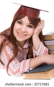 attractive student with books . over white background