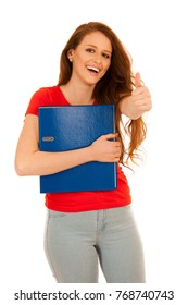 attractive student holding folders isolated over white background