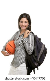 Attractive student woman with bag and basketball ball on white background