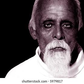 Attractive studio  Portrait of elderly Gentleman on Black