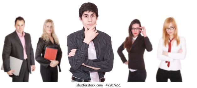 An attractive successful business team over white background