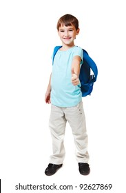 Attractive successful kid showing ok sign, isolated