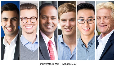 Attractive successful smiling men portraits collage. Business men of different age and ethnicity posing for mutual portrait. Business concept