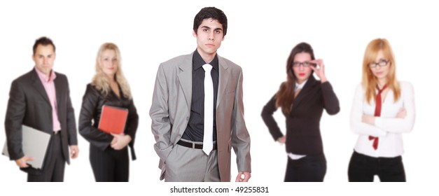 An attractive sucessful business team over white background