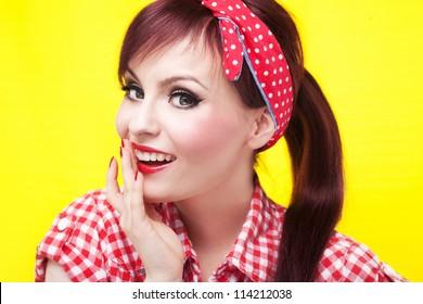 Attractive surprised pin up girl - retro style portrait