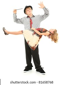 Attractive teen boy and younger sister performing magic show.  Child school talent show act over white.