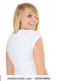 Attractive teenage girl looking over her shoulder. All on white background.